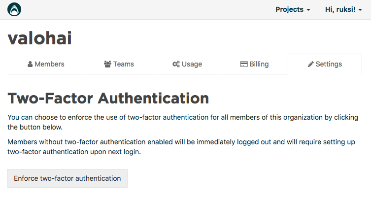 Enforce two-factor authentication settings