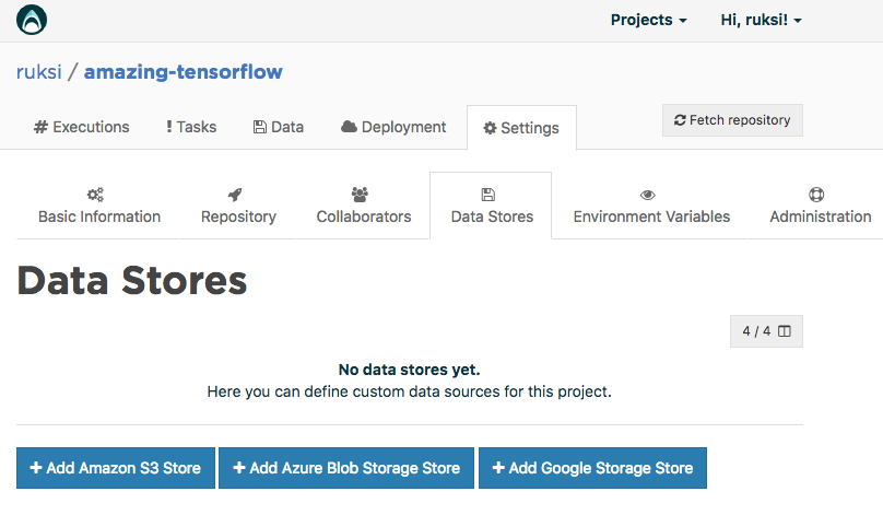 Google Storage store configuration page