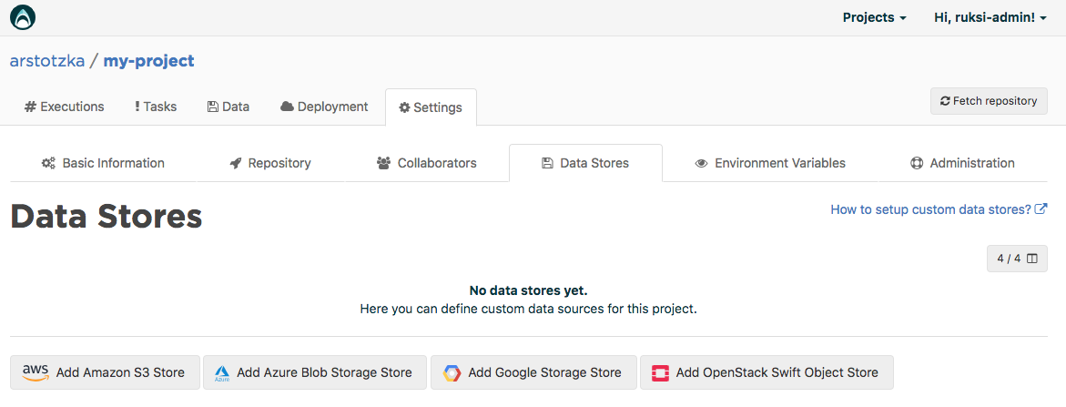 Swift store on data stores page