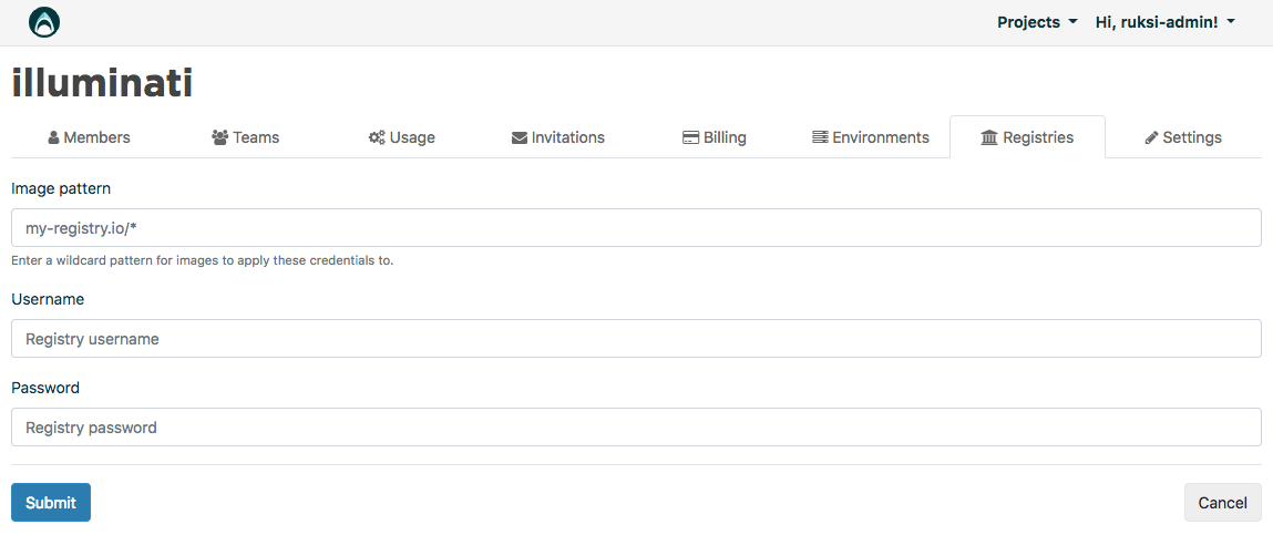 You can add private Docker registries under organization settings.